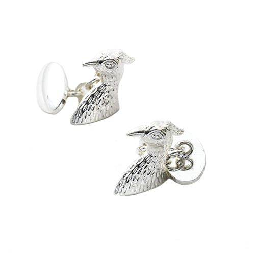 Falcon Bird of Prey Silver plate Cufflinks with chain Link