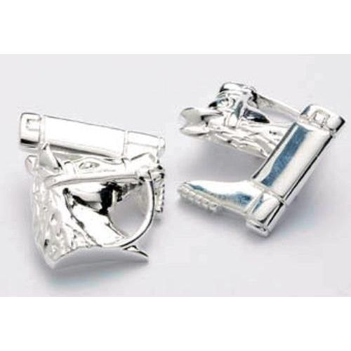 Sterling Silver Horse & Riding Boot with chain link Cufflinks