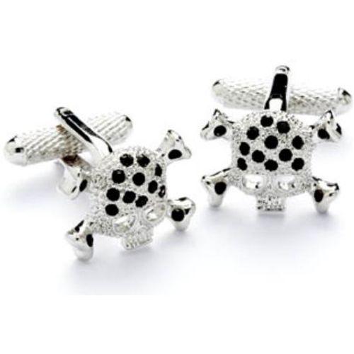 Silver and Jet Skull and Cross bones Cufflinks