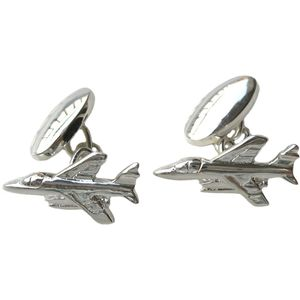 Sterling Silver Jet Plane Cufflinks with Chain Link