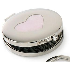 Silver Options Compact Mirror - Pink Heart Pattern