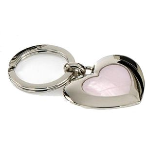 Silver Options Keyring - Love Heart with Mother of Pearl