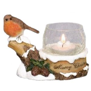 Christmas Tea Light Candle Holder - Robin on Branch