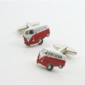 Camper Van Cufflinks - red & white