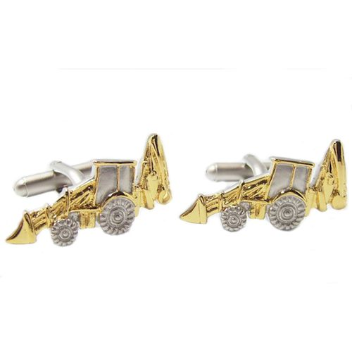JCB Excavator Cufflinks in a silver and Gold finish