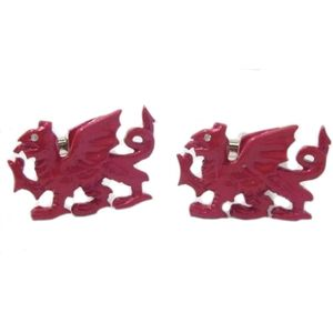 Red Welsh Dragon Y Ddraig Goch Cufflinks