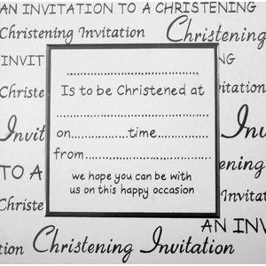 White Christening Invitations x10