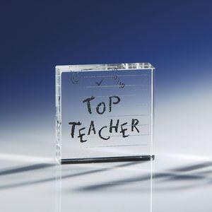 Glass Block Paperweight - Top Teacher