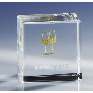 Glass Block Paperweight - Celebrate