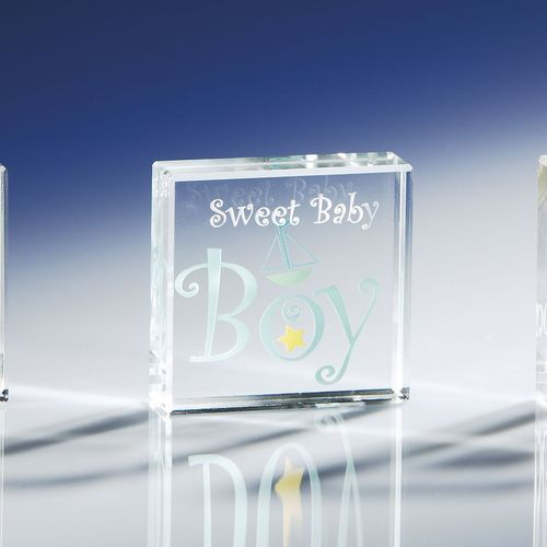 Clear Intentions Sweet Baby Boy paperweight