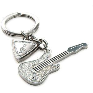 Silver Options Keyring - Guitar & Plectrum