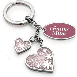 Silver Options Keyring - Thanks Mum (Love Hearts)