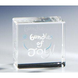 Glass Block Paperweight - Bundle of Joy (Baby Boy)