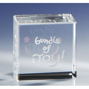 Glass Block Paperweight- Bundle of Joy (Baby Girl)