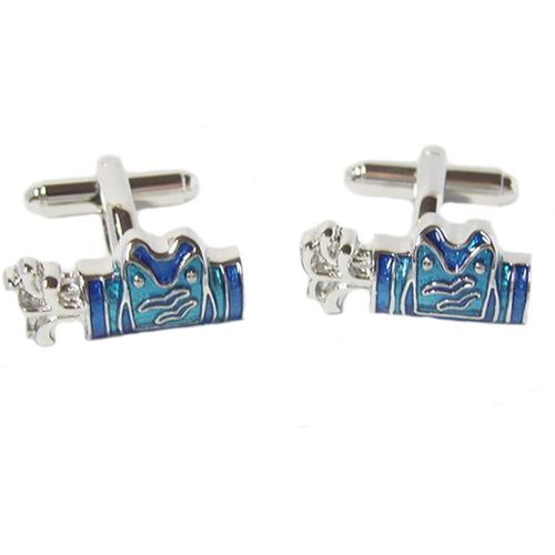 Blue & Silver finish golf bag cufflinks with clubs