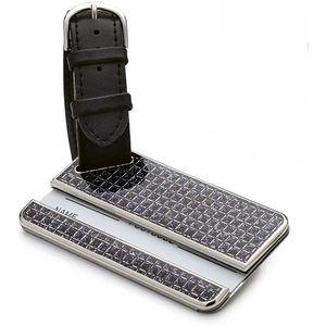 Silver Options Luggage Tag - Black Glitter