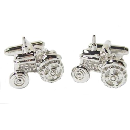 Traditional Tractor cufflinks in a polished silver finish.