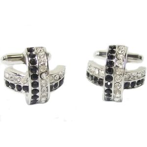 Crossed Crystal Cufflinks - Black & White