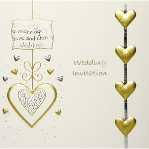 Wedding Invitations Cream Lace with Gold Heart x5