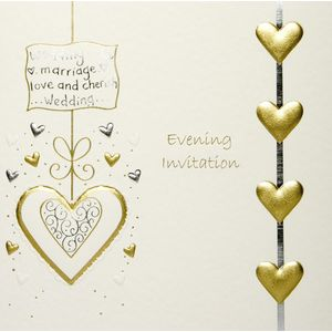 Wedding Evening Invites Cream Lace with Gold Hearts x5