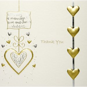 Wedding Thank You Cards Cream Lace with Gold Hearts x5
