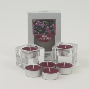 Aromatic Candle Holders & Scented Tea Lights Set - Wild Cranberry