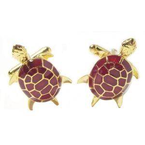 Turtle Cufflinks Red & Gold