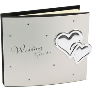 Juliana Aluminium Luxury Wedding Guest Book with Crystals & Hearts 40 Pages