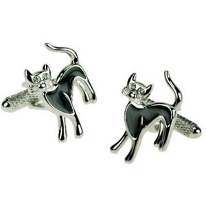 Lucky Black Cat with Crystal Eyes Cufflinks