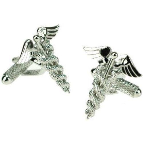 Silver finish Caduceus Doctors Emblem Novelty Cufflinks