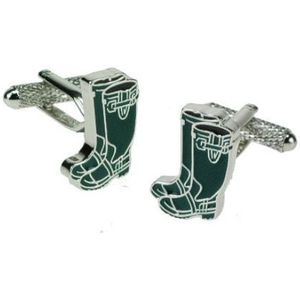 Green Wellington Boot Cufflinks