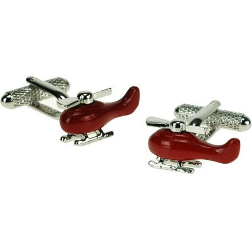 Red & silver finish helicopter cufflinks