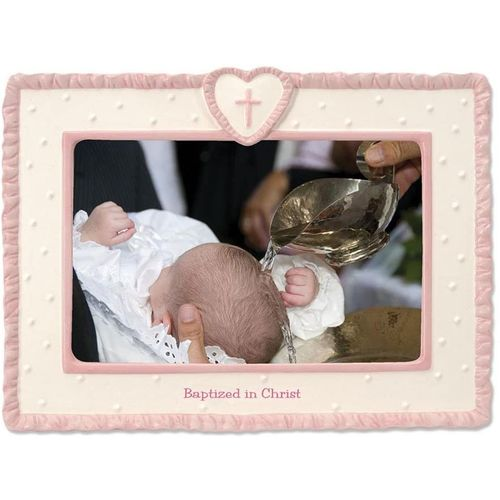Baptism Photo frame with  pink trim.
