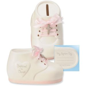 Baptism Gift Shoe Money Bank (pink)