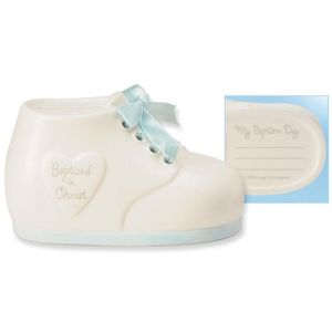 Baptism shoe money bank - blue