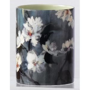 Ceramic Votive Candle Apple Blossom Flower Design - Vanilla Fragrance