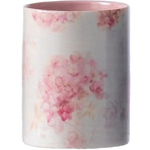 Ceramic Votive Candle Flower Petals Design - Vanilla Fragrance