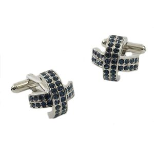 Crossed Crystal Cufflinks - Blue