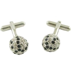 Black and Clear Crystals Globe Cufflinks
