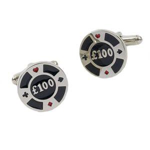 £100 Casino Poker Chip Cufflinks