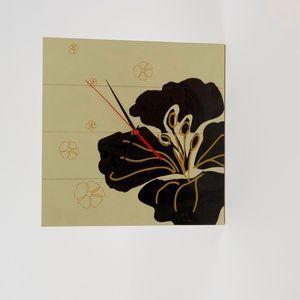Hibiscus Wooden Clock