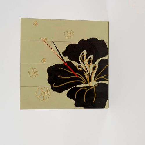 Renaissance Hibiscus Wooden Clock Ref A20977