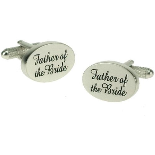Father of The Bride Wedding  Cufflinks -Black on Silver pearl finish