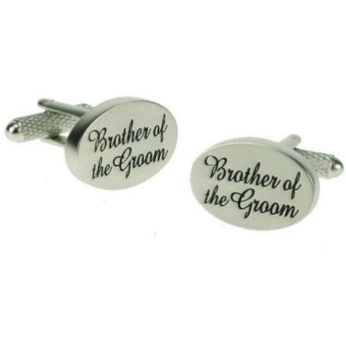 Brother of the Groom Cufflinks -Black on Silver pearl finish