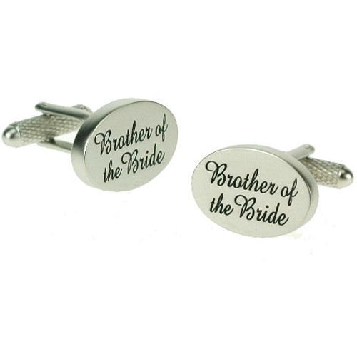 Brother of the Bride Wedding Cufflinks -Black on Silver pearl finish