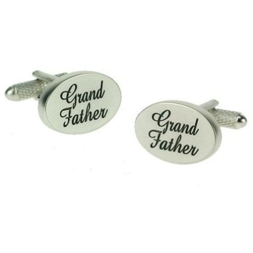 Grandfather Wedding Cufflinks -Black on Silver pearl finish