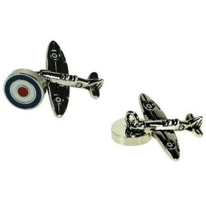 Spitfire Cufflinks with RAF Roundel Chain Link