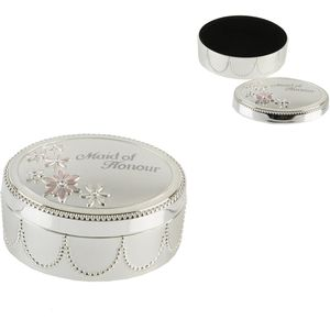 Juliana Wedding Party Silver Plated Trinket Box - Maid of Honour Keepsake Gift