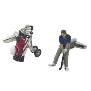 Golfer & Golf Bag Cufflinks