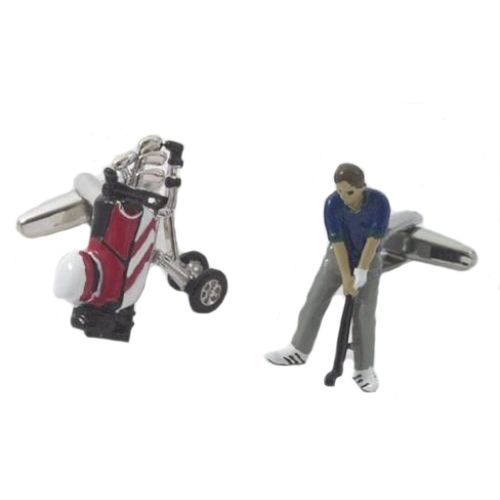 Golf Bag & Golfer Cufflinks